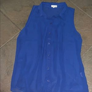 Mine blue scheer button down tank top